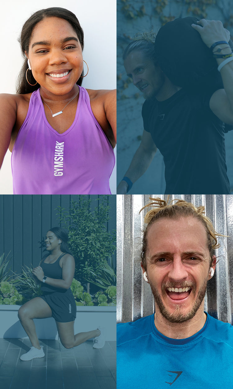 Collage of men and women working out and sweating for their goals in the Apex Collection
