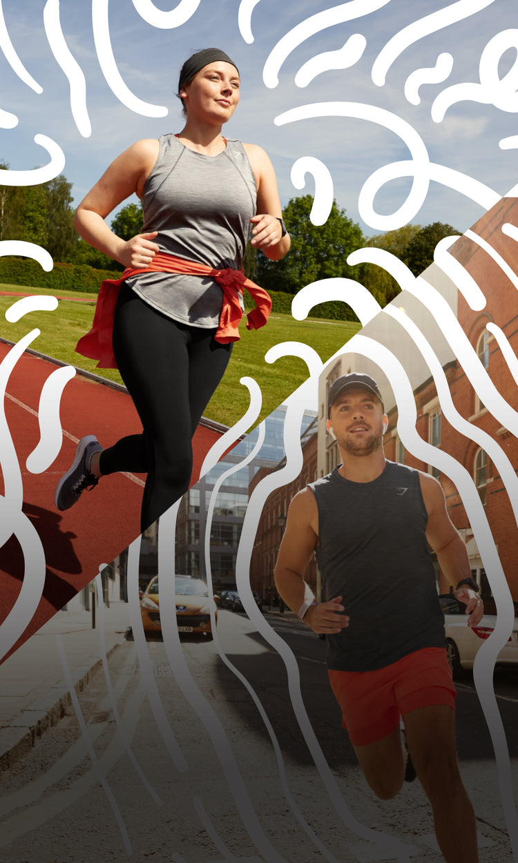 Male and Female models running outside while wearing the new Speed Collection.