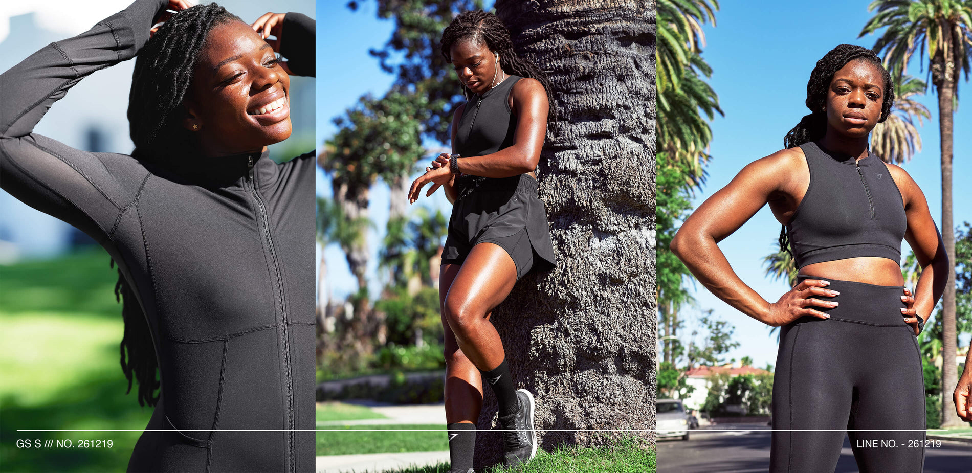 Woman wearing Gymshark Speed collection posing 3 times after completing a run.