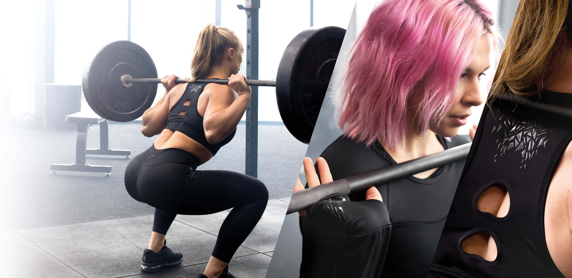 A collage of 3 images featuring 2 female athletes exercising using barbells in a bright gym wearing the EXO collection.