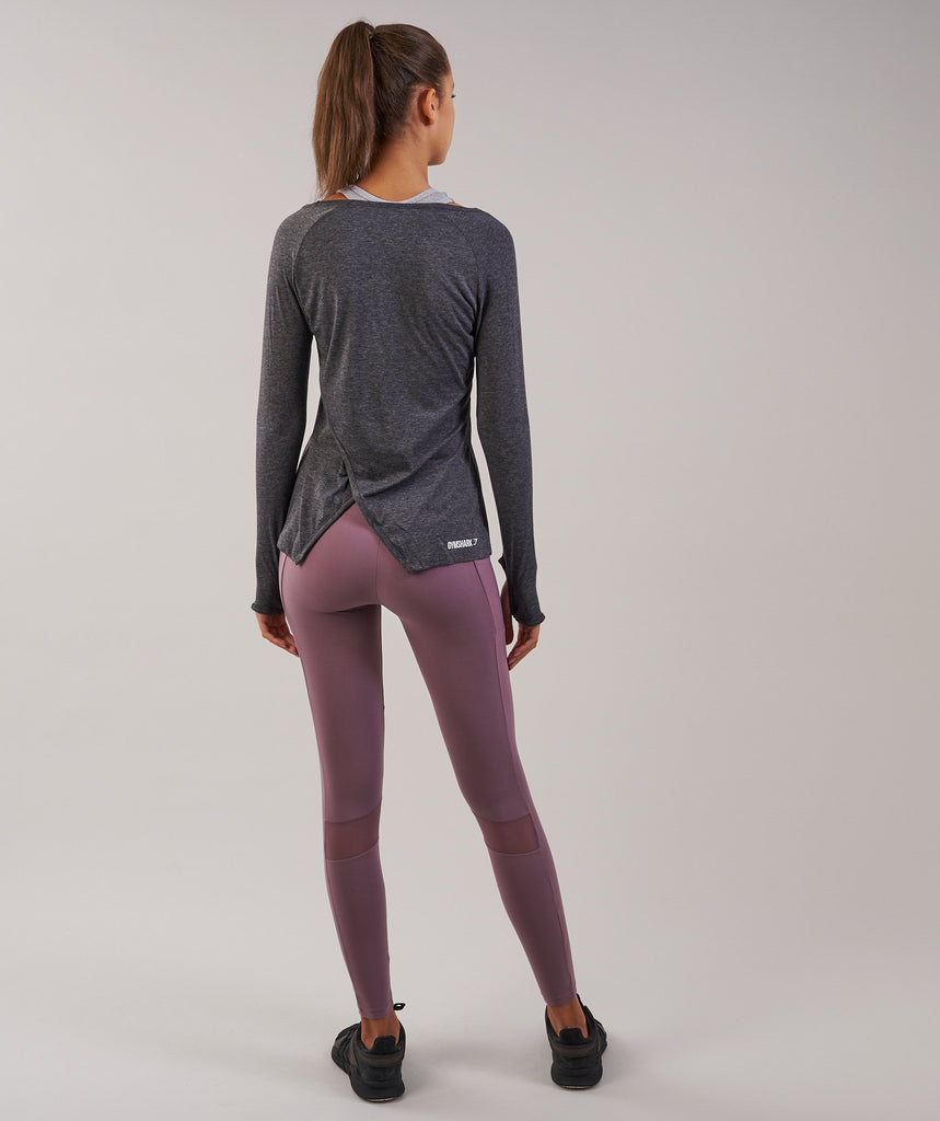 Gymshark Cross Back Long Sleeve Top - Charcoal Marl 2