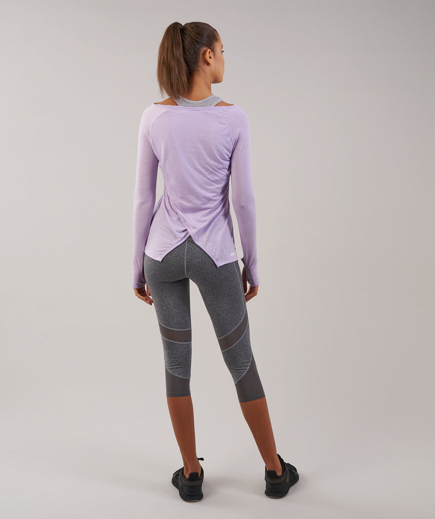 Gymshark Cross Back Long Sleeve Top - Pastel Lilac Marl 2