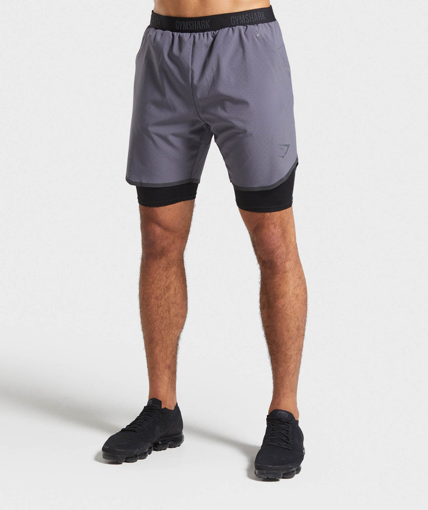 Gymshark 2 in 1 Tech Shorts - Slate Grey 1