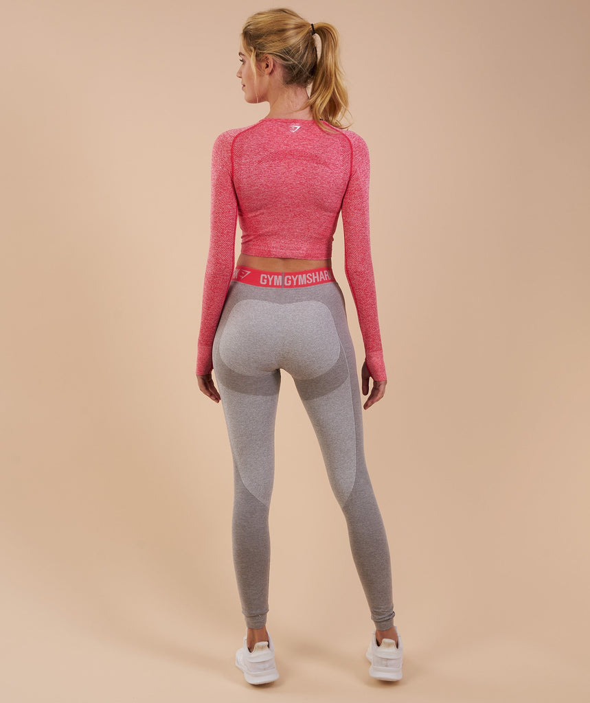 Gymshark Flex Leggings - Light Grey Marl/Sherbet Pink 2
