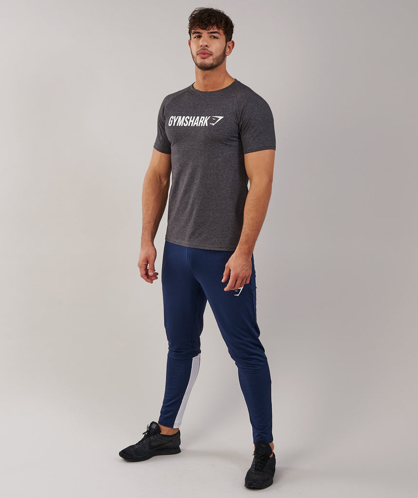 Gymshark Apollo T-Shirt - Charcoal Marl/White 1