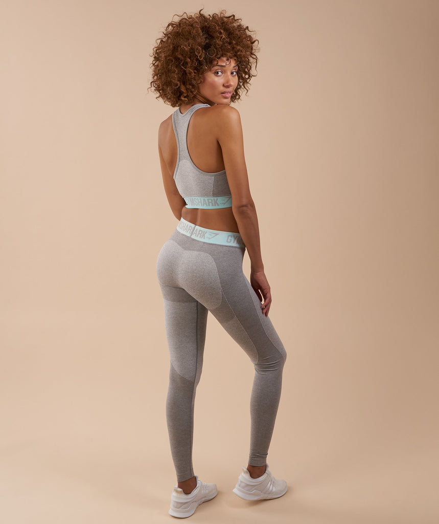 Gymshark Flex Leggings - Light Grey Marl/Pale Turquoise