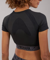 Gymshark Flex Crop Top - Black Marl/Charcoal 11