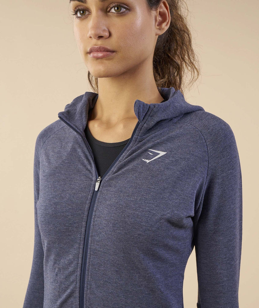 Gymshark Impulse Zip Hoodie - Sapphire Blue/Light Grey Marl