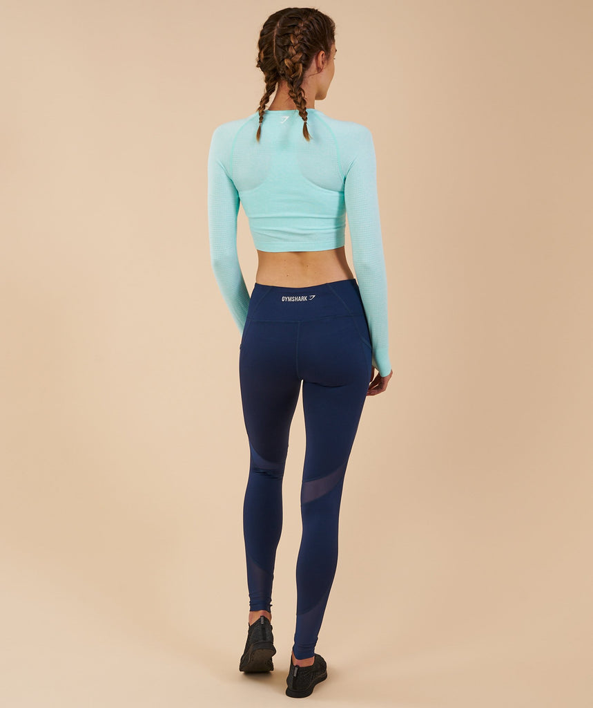 Gymshark Vital Seamless Long Sleeve Crop Top - Pale Turquoise Marl
