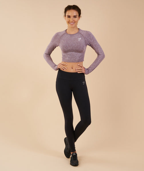Gymshark Vital Seamless Long Sleeve Crop Top - Purple Wash Marl 4