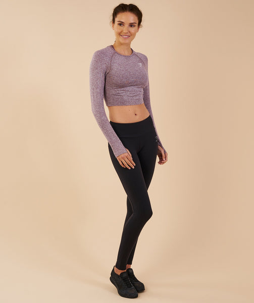 Gymshark Vital Seamless Long Sleeve Crop Top - Purple Wash Marl 3