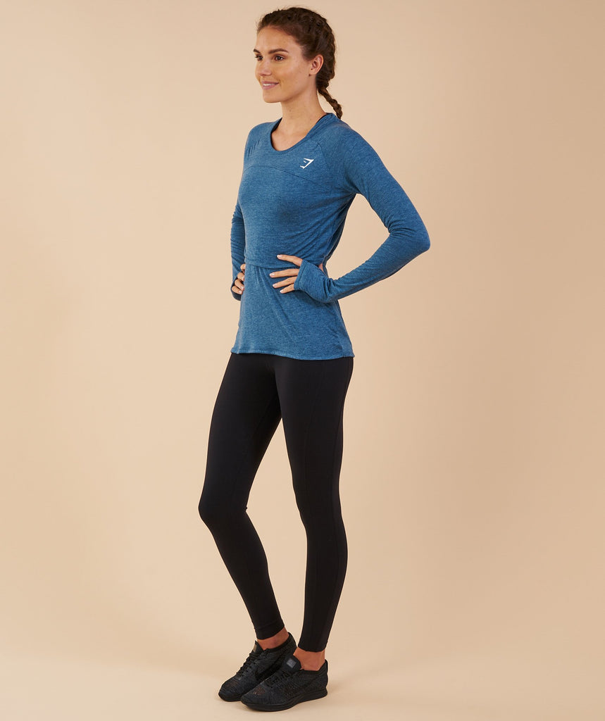 Gymshark Double Up Long Sleeve Top - Petrol Blue Marl 2