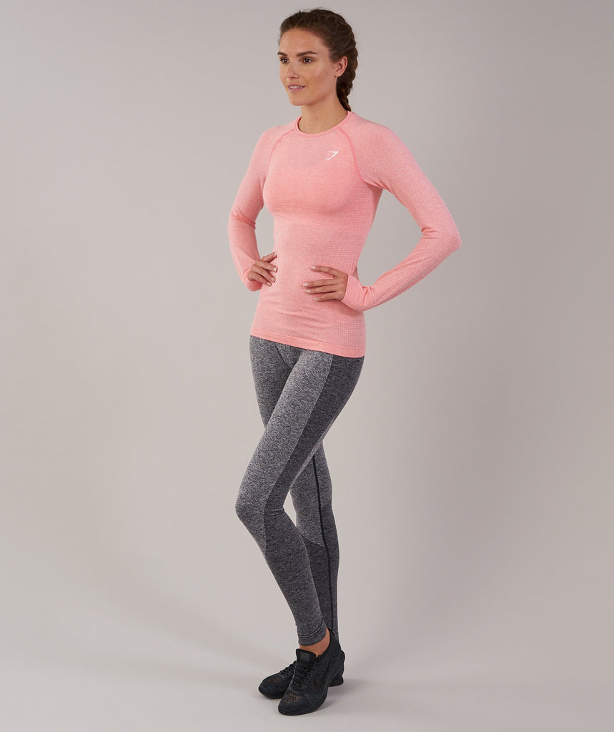 Gymshark Vital Seamless Long Sleeve Top - Peach Pink Marl