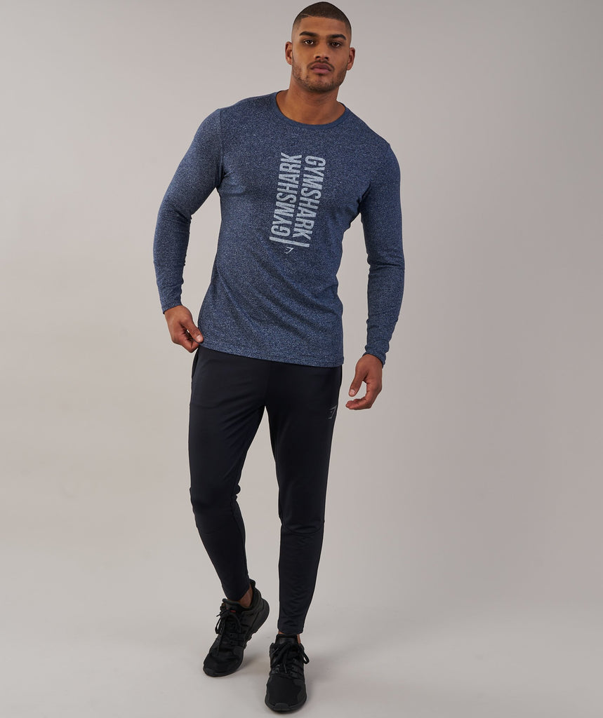 Gymshark Statement Long Sleeve T-Shirt - Sapphire Blue Marl 1