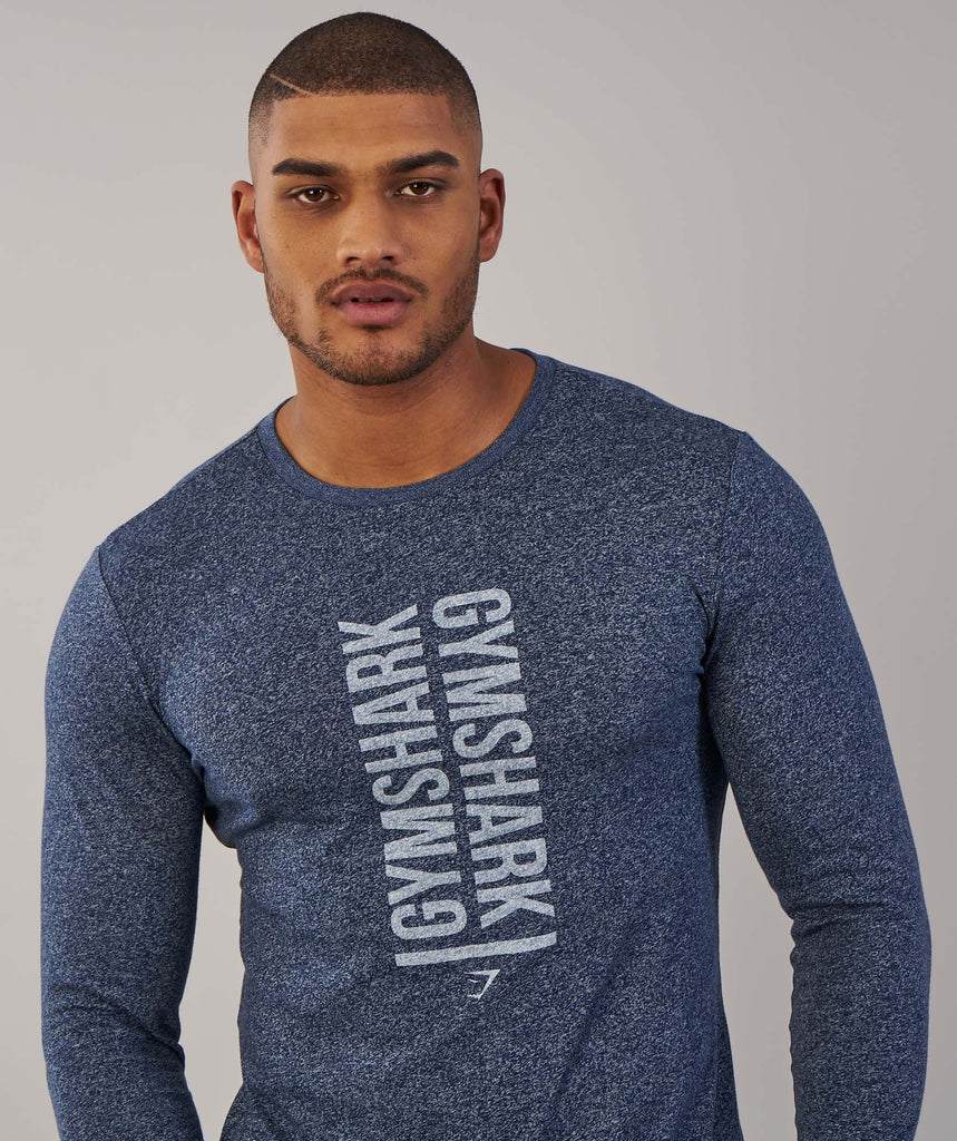 Gymshark Statement Long Sleeve T-Shirt - Sapphire Blue Marl 2