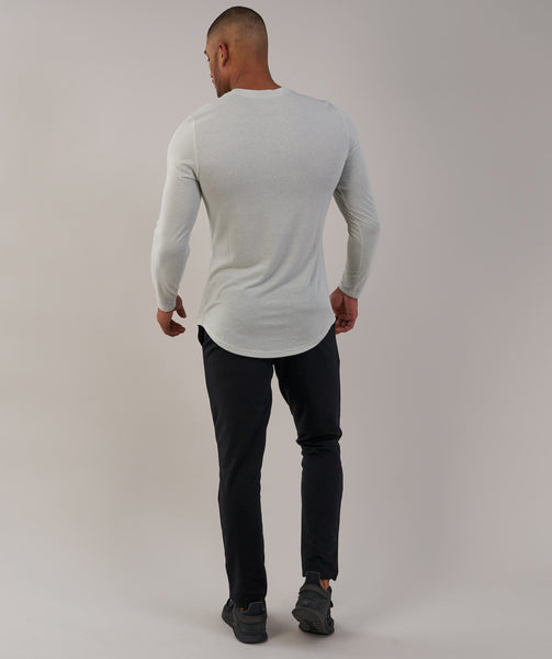 Gymshark Perforated Longline Long Sleeve T-Shirt - Pastel Green 1