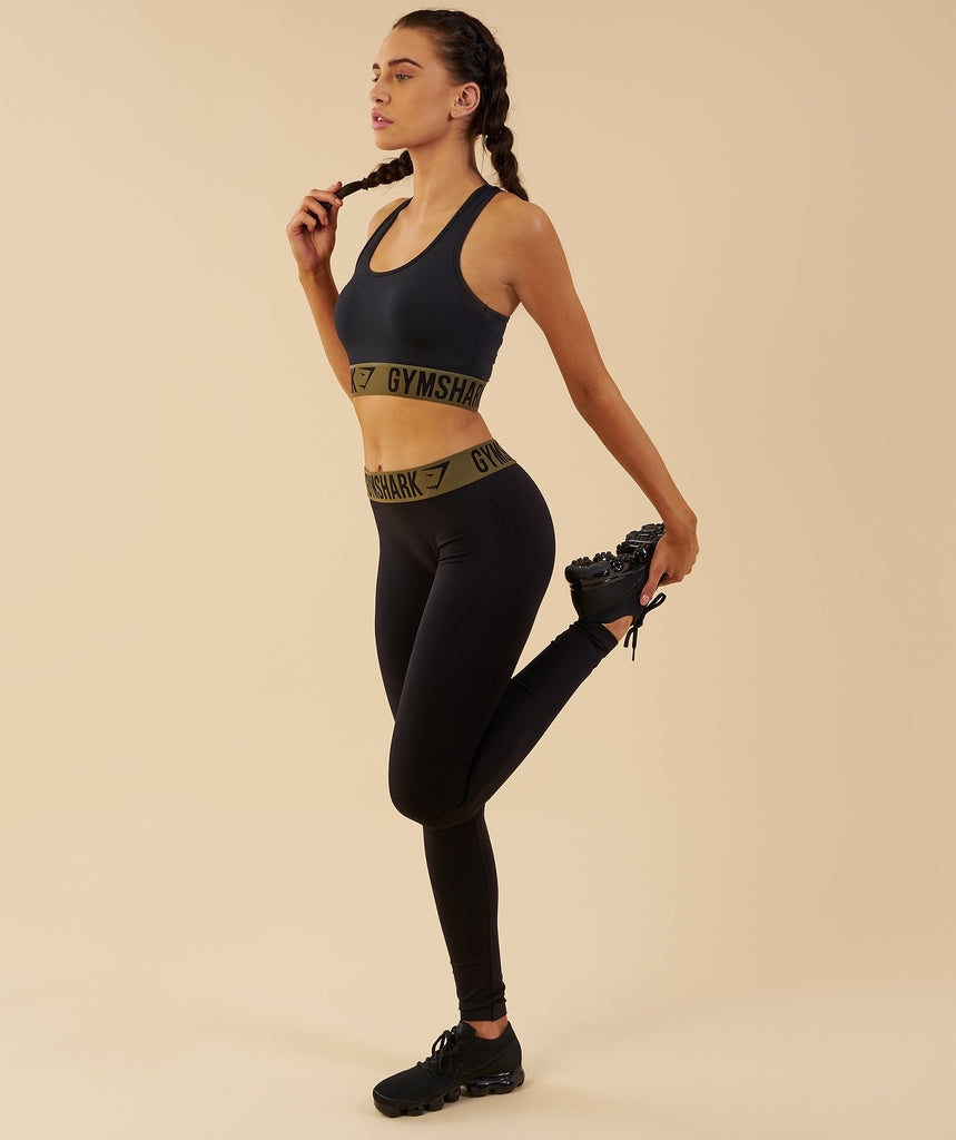Gymshark Fit Leggings - Black/Khaki 6