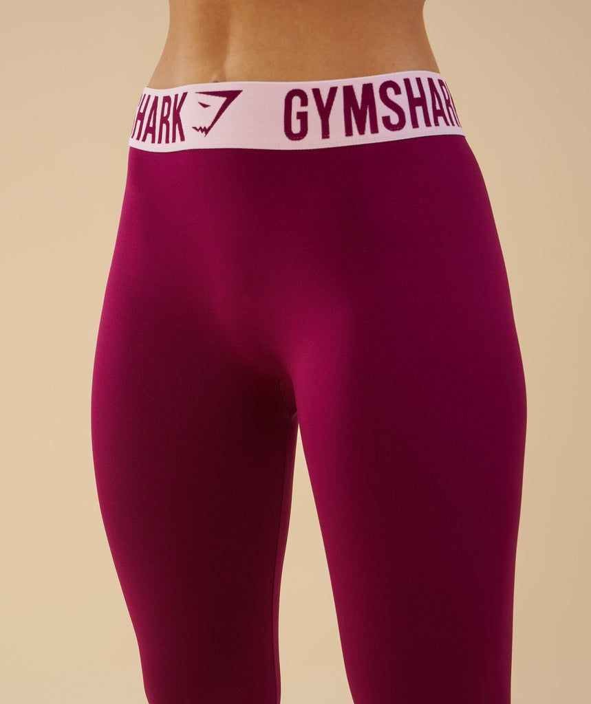 Gymshark Fit Leggings - Deep Plum/Chalk Pink 2