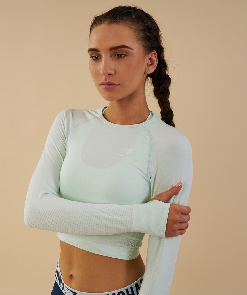 Gymshark Vital Seamless Long Sleeve Crop Top - Sea Foam Green 2