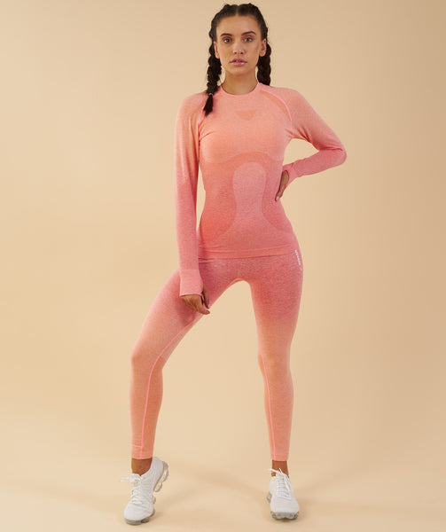 15204fc861 Gymshark Ombre Seamless Long Sleeve Top - Peach Coral | T-Shirts ...
