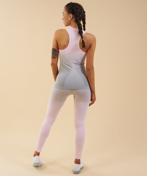 Gymshark Ombre Seamless Vest - Light Grey/Chalk Pink 2