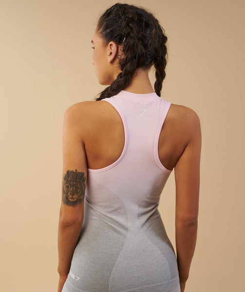 Gymshark Ombre Seamless Vest - Light Grey/Chalk Pink 4