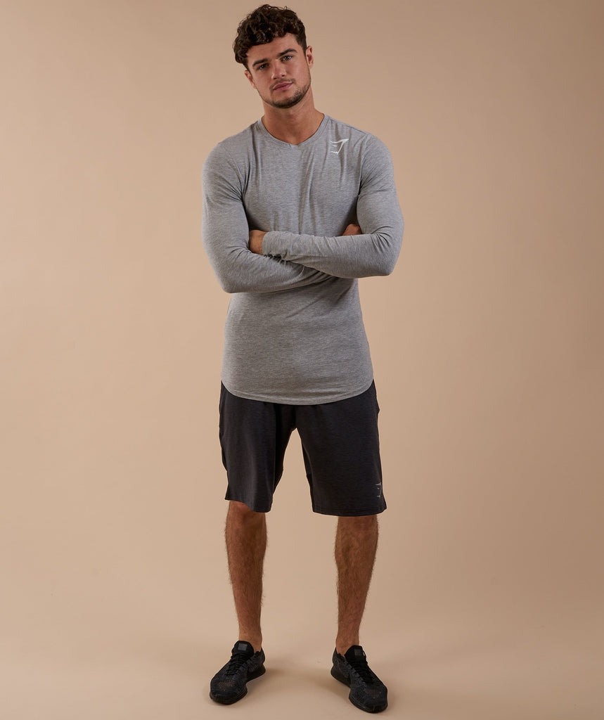 Gymshark Ark Long Sleeve T-Shirt - Light Grey Marl 1