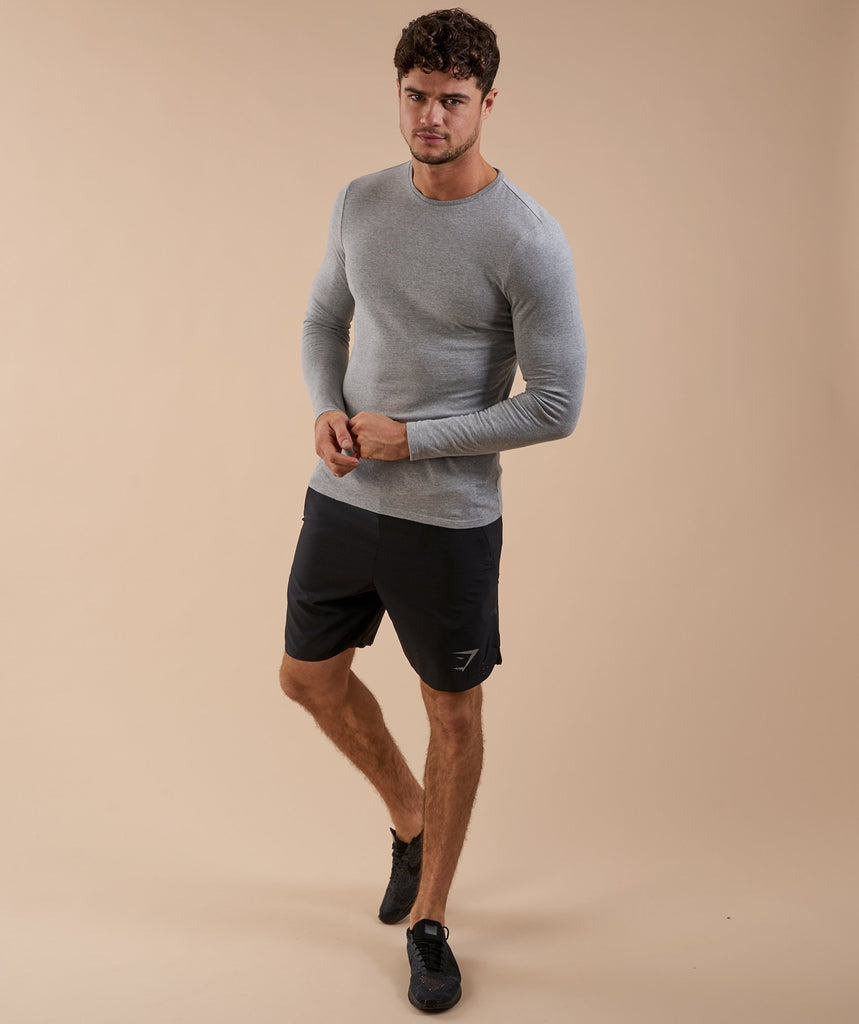 Brushed Cotton Long Sleeve T-Shirt - Light Grey Marl 2