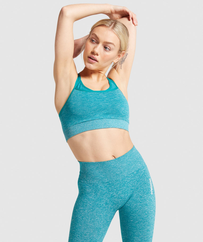 Gymshark Adapt Marl Seamless Sports Bra - Emerald Green 1