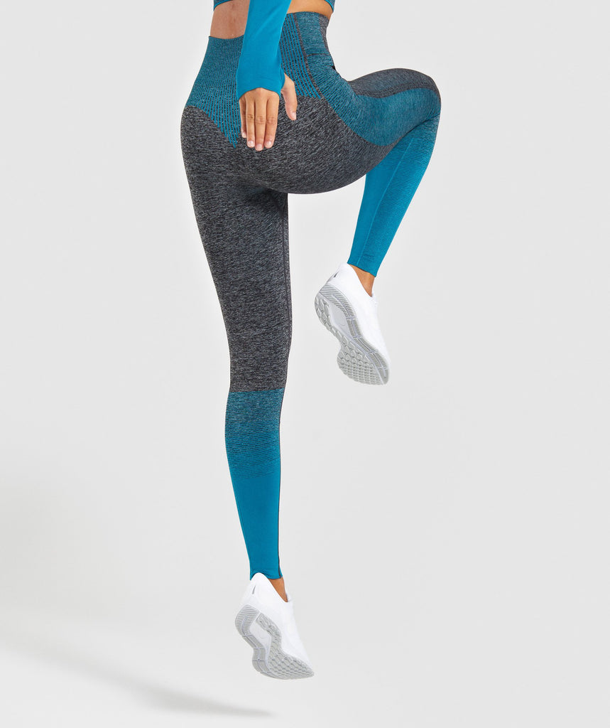 Gymshark Amplify Seamless Leggings - Black Marl/Deep Teal 2