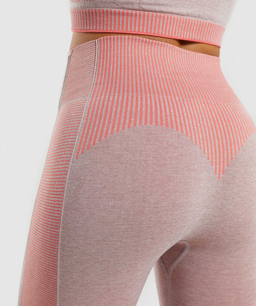 Gymshark Amplify Seamless Leggings - Taupe Marl/Peach Coral 6