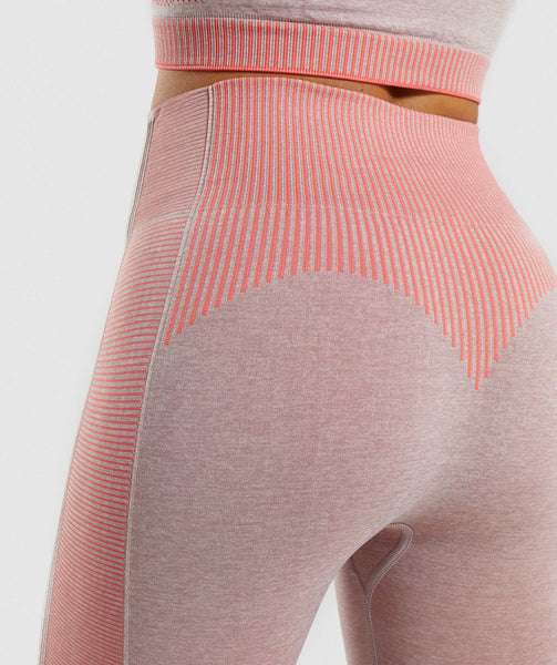 Gymshark Amplify Seamless Leggings - Taupe Marl/Peach Coral 4