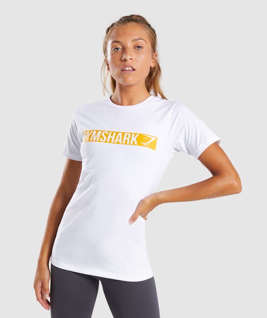 Gymshark Apollo T-Shirt 2.0 - White/Citrus Yellow 4