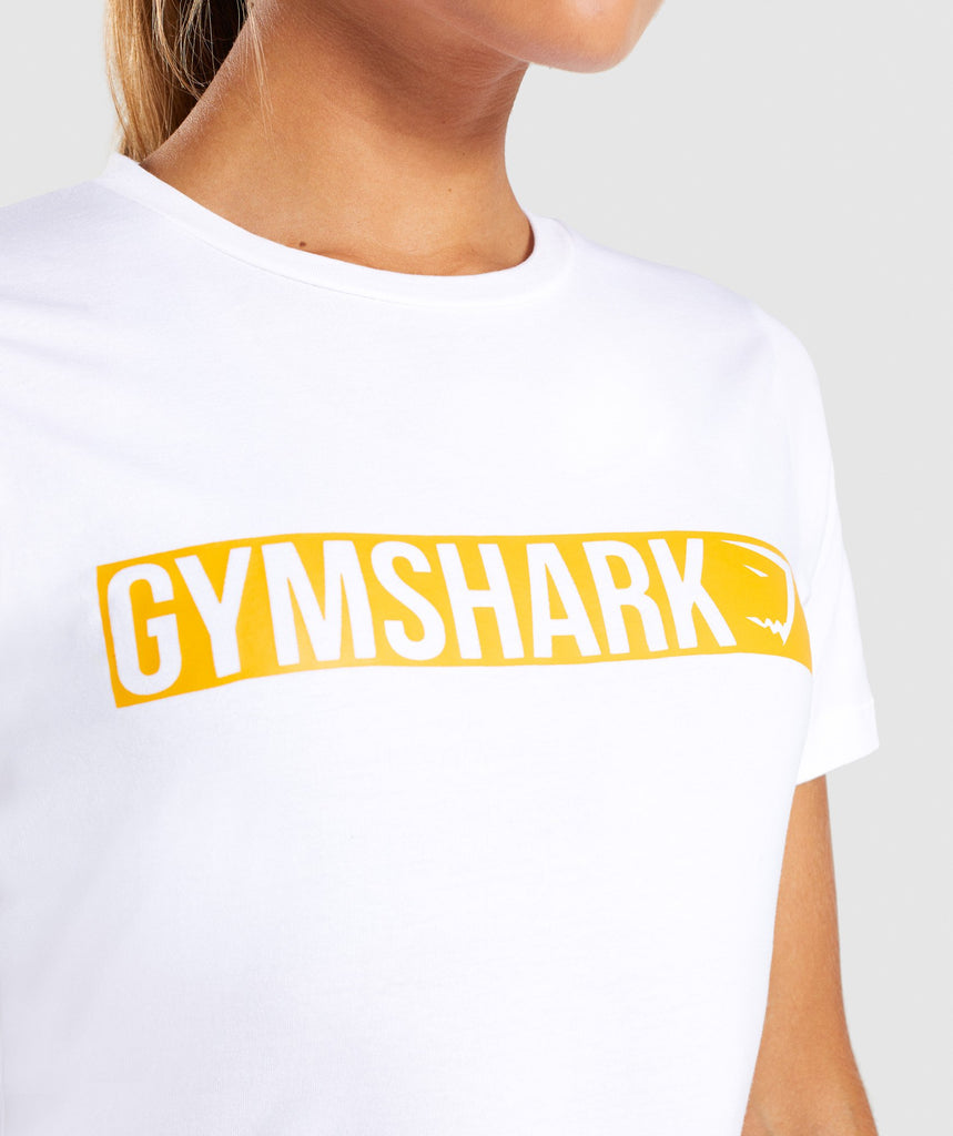 Gymshark Apollo T-Shirt 2.0 - White/Citrus Yellow 5