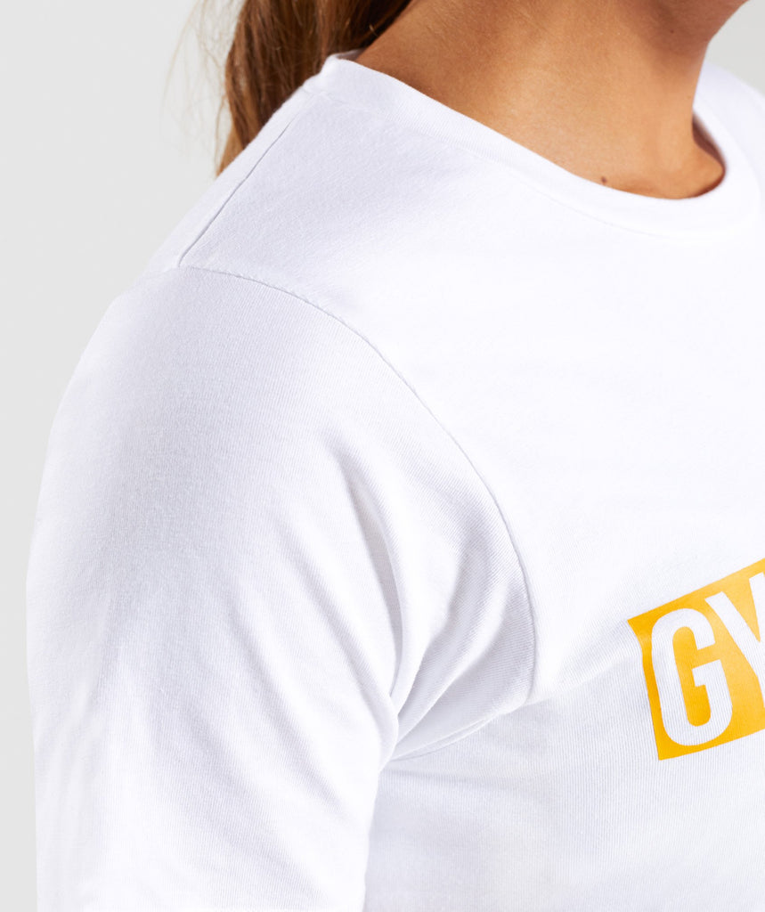 Gymshark Apollo T-Shirt 2.0 - White/Citrus Yellow 6