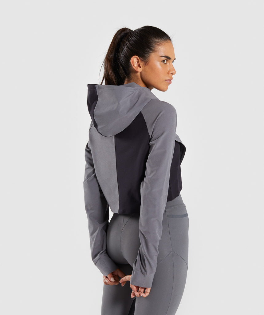 Gymshark Asymmetric Performance Hoodie - Smokey Grey/Black 2
