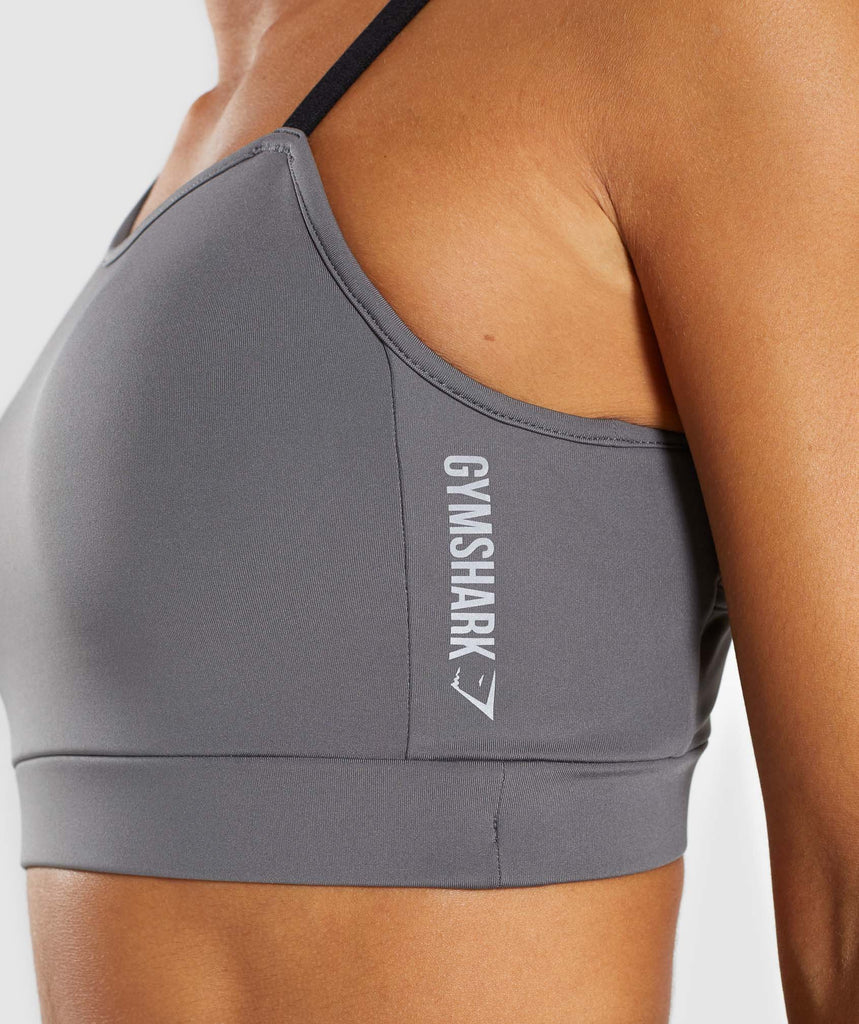 Gymshark Asymmetric Sports Bra - Smokey Grey/Black 6