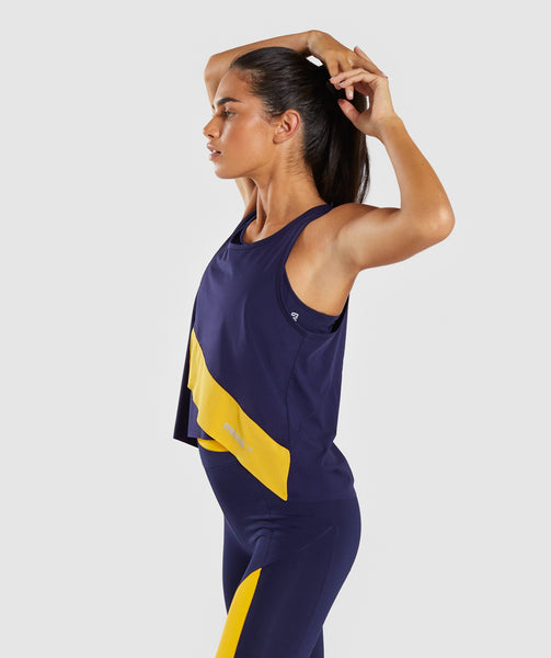 Gymshark Asymmetric Vest - Evening Navy Blue/Citrus Yellow 4