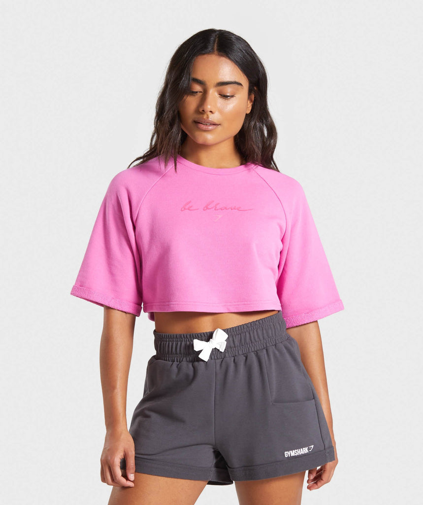 Gymshark Be Brave Boxy Cropped Sweater - Pink 1