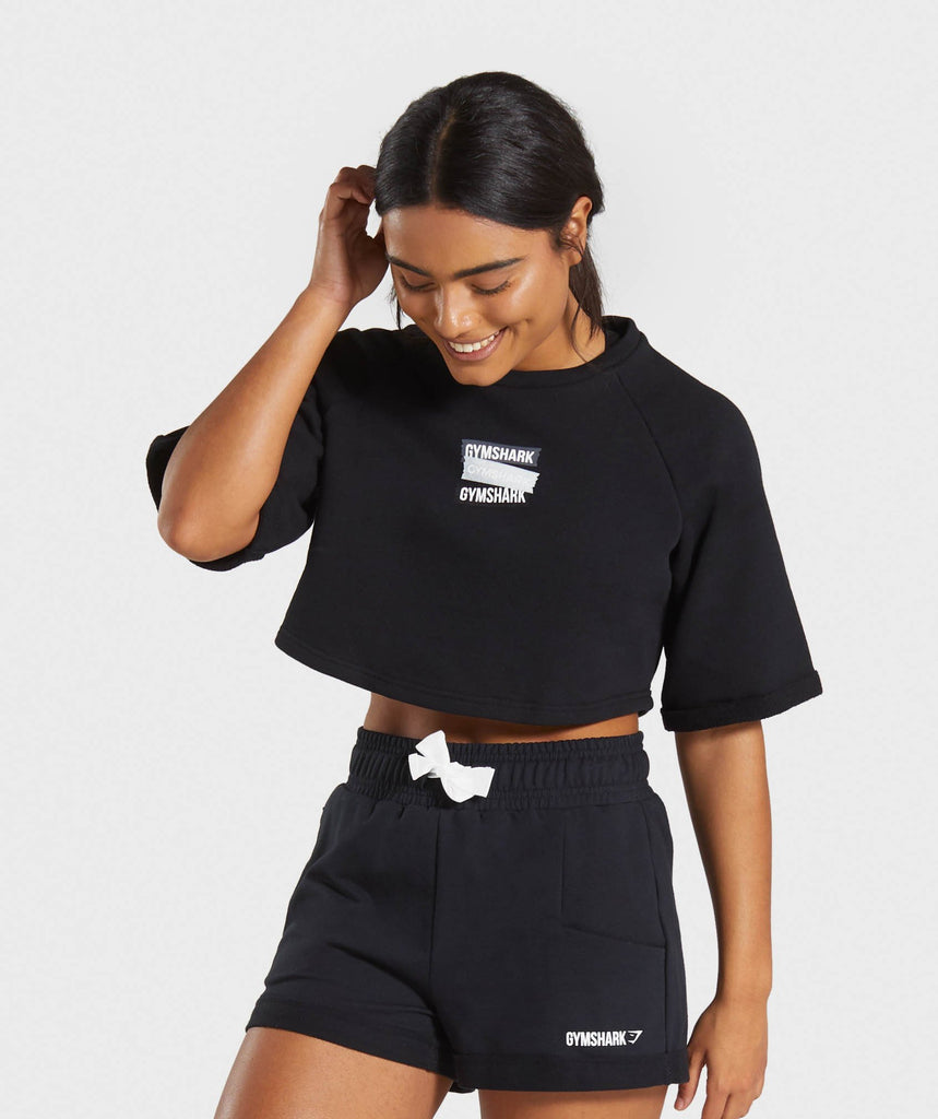 Gymshark Branded Boxy Cropped Sweater - Black 1