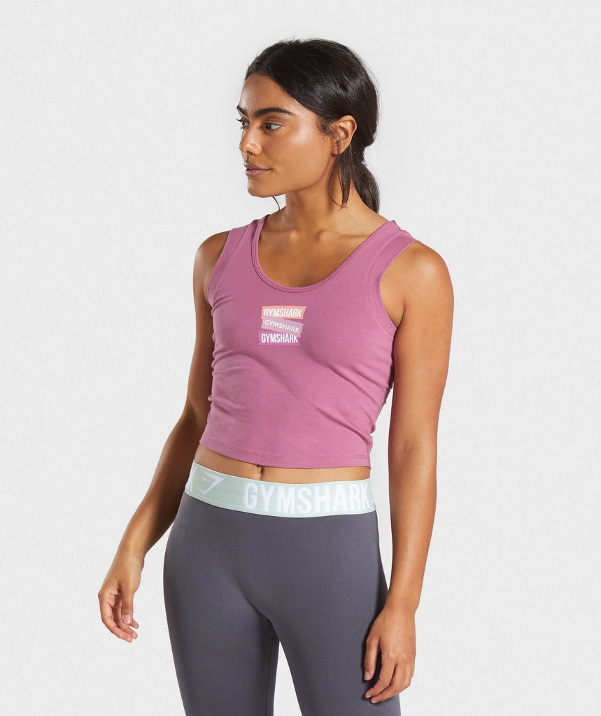 Gymshark Branded Crop Top - Mauve 1