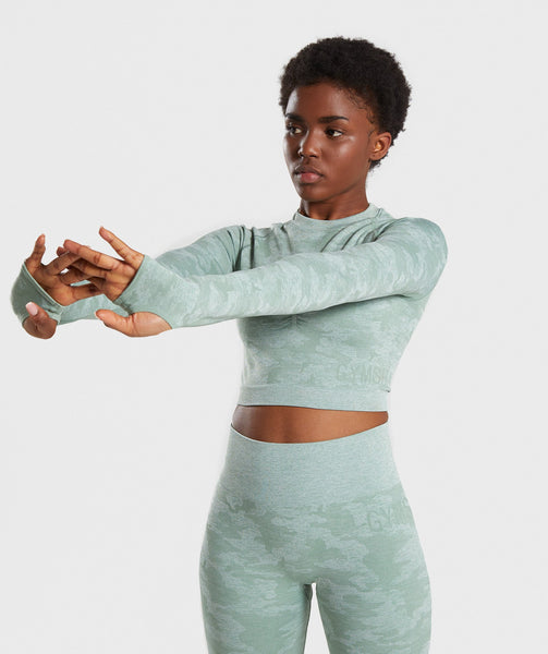 Gymshark Camo Seamless Long Sleeve Crop Top - Sage Green 2