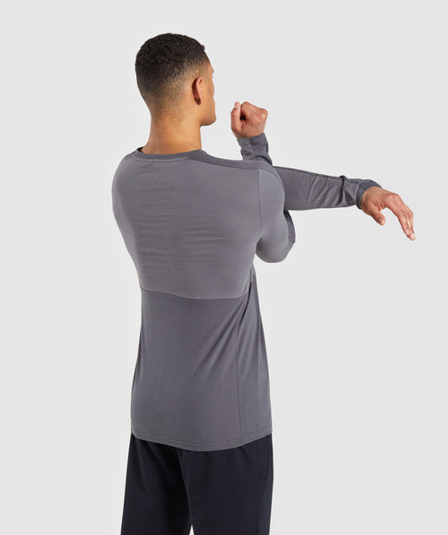 Gymshark Colour Block Central Logo Long Sleeve T-Shirt - Charcoal 1