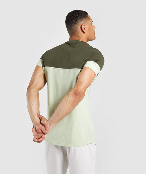 Gymshark Colour Block T-Shirt - Dark Green 1