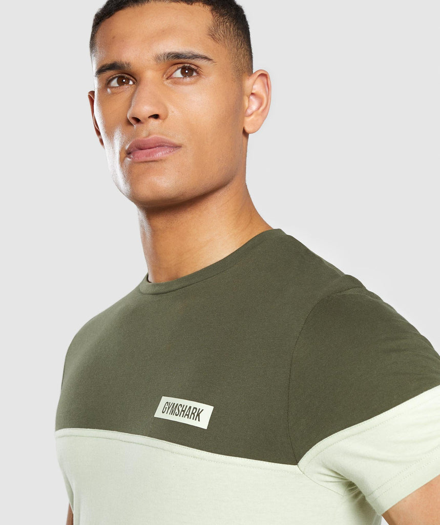 Gymshark Colour Block T-Shirt - Dark Green 5