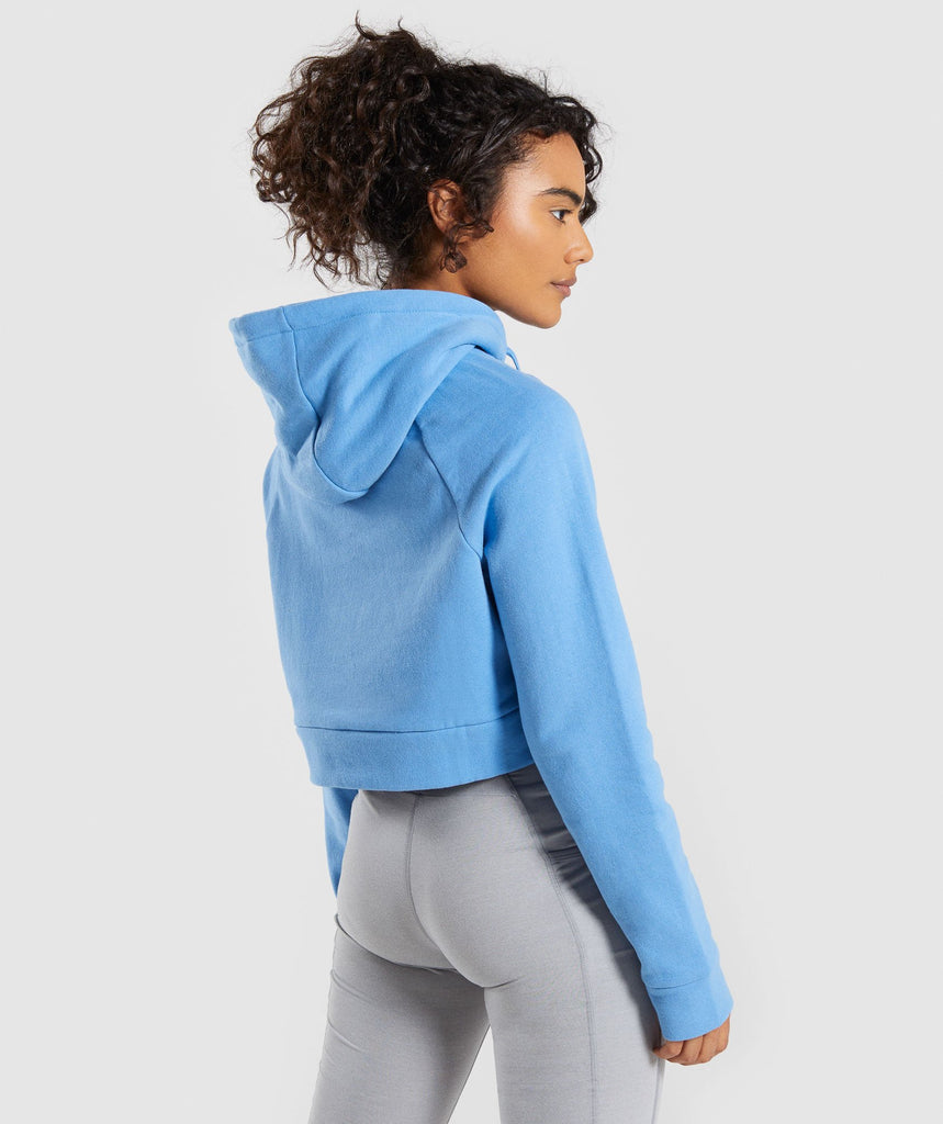 Gymshark Cropped Crest Hoodie - Blue 2