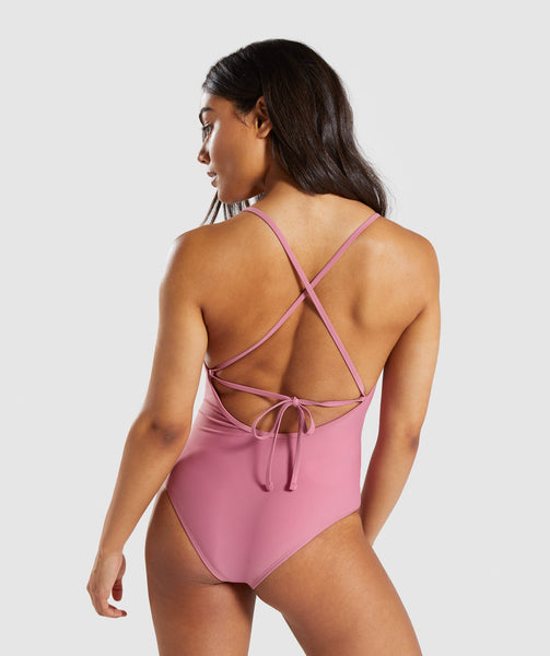 Gymshark Cut Out Swimsuit - Dusky Pink 1