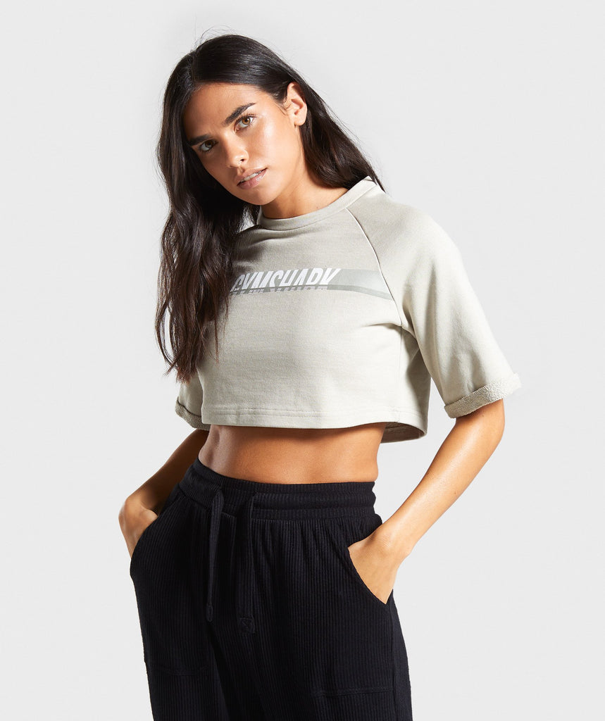 Gymshark Dash Boxy Crop Top - Khaki 1
