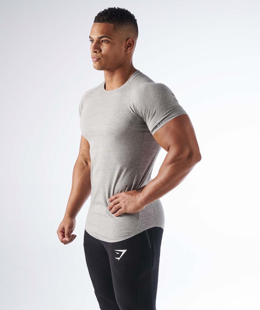 Gymshark Dipped Hem T-Shirt - Light Grey Marl