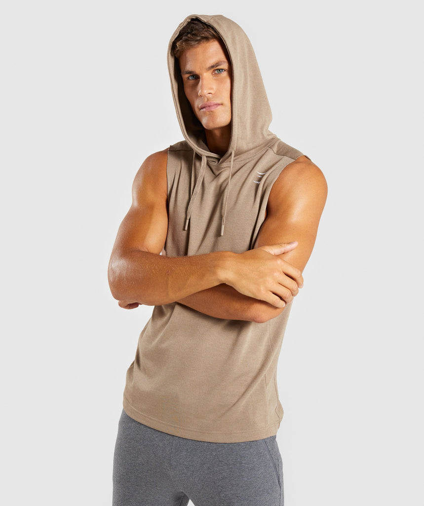 Gymshark Drop Arm Sleeveless Hoodie - Driftwood Brown 1